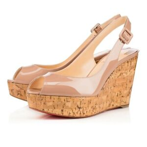 Christian Louboutin Une Plume Sling 120 Nude Patent Cork Platform Wedge Heel 41
