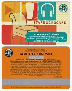 2007 Starbucks Coffee iTunes Music Gift Card Limited Edition Rare New