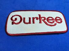 Durkee Sew On Patch White Red 4.5 x 2 inches Logo Food worker company logo