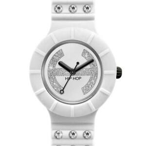 Orologio Donna HIP HOP CRYSTAL HWU0485 Small 32mm Silicone Bianco Gold Swarovski