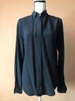 Saint Laurent Women's Black 100% Silk Button Down Blouse Shirt Top Size 34