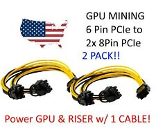 2 x PCIe 6 pin y-split  6+2-pin (6-pin/8-pin) Power Splitter Cables PCI Express