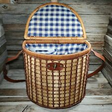Wicker Picnic Basket w/ Plates, Cups, Glasses, Utensils, Napkins Cheeseboard Exc