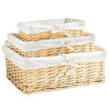 VonHaus 08/127 Wicker Storage Baskets, Set of 3, Beige