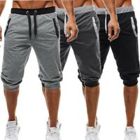 Men's 3/4 Knee Joggers Short Loose Casual Gym Sport Cropped Trousers
