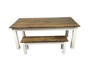 Dark Walnut & White Farm Table (Rustic Harvest Farmhouse Kitchen Dinning Table)
