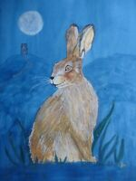 Original Mounted Watercolour Painting Magical Hare 16x12ins