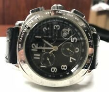 DiBur Chronograph Black Leather Band Black Dial Unisex Watch