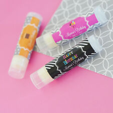 50 Personalized Lip Balm Tube Boy or Girl Birthday Party Favor Thank You Gifts