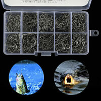 500pcs Black Fish Jig Hooks with Hole Fishing Tackle Box 10 Sizes Carbon Steel~