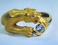 AUTHENTIC STUNNING CARRERA Y CARRERA DIAMOND PANTHER 18K YELLOW GOLD RING