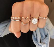 Damas Mujeres 5 Dorado Cristal Sparkle Bling declaración de amor corazón Boho Anillo UK