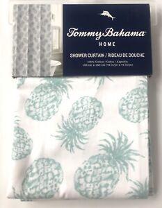 Tommy Bahama Tropical Aqua Pineapple Cotton Twill Shower Curtain 72 x 72 New