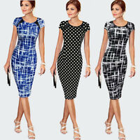 Women Printing O-Neck Bodycon Short Sleeve Party Cocktail Pencil Dress