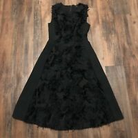 BCBG Max Azria Women's Black Cocktail Dress Fit & Flair Applique • Size XS