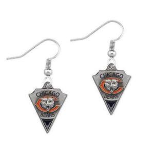 Chicago Bears Football Team Logo Pennant Arrow Shaped Enamel Earrings for Women