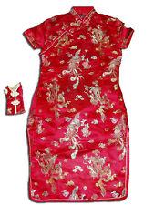 Niña Satén Dragón CHINOS Vestido Negro Rosa Rojo Rosa Azul Dorado 9 m-16 Año