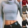 Womens Long Sleeve Turtleneck Slim Crop Tops Knit Sweater Short Winter Blouse