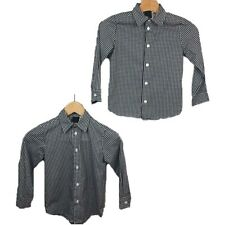Van Heusen 5 Twin Boys Dress Shirts Gingham Print Button Up Black White Long Sl