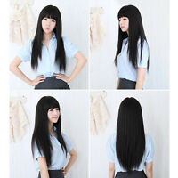 Black New Women's Fashion Long Straight Full Hair Wigs Neat Bangs Cosplay Party