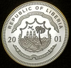SILVER WORLD PROOF 2001 Liberia 20 Dollars Silver Coin FIRST MAN ON THE MOON