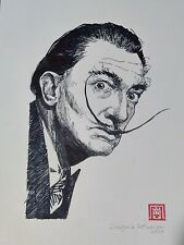Ink Drawing of Salvador Dali Original Signed