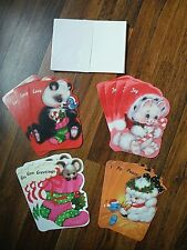 "Vtg Lot of 14 Die Cut New 1970s ""Christmas Friends"" Cards Envelopes by Sunshine"