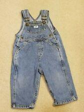 GUESS Vintage Baby Jeans Denim Bib OVERALS Size 24 Months Snap Legs Pink Label