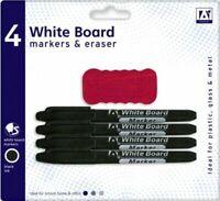 4 Black White Board Marker Pens Dry Erase Easy Wipe Eraser Plastic Glass Metal