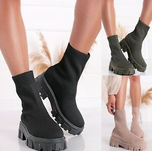LADIES WOMENS FLAT CHUNKY PLATFORM SOLE CHELSEA SLIP ON SOCK ANKLE BOOTS SHOES
