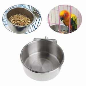 Stainless Steel Pet Hanging Bowl Feeding Cat Dog Bird Cage Food Cup Water F4V2