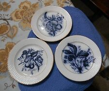 P Regout & Co Maastricht FRUIT Plates Blue on White 7 Inch Lot of 3