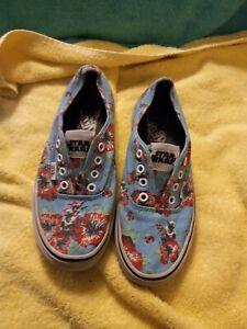 VANS Star Wars Yoda Aloha Shoes Mens 6 Womans 7.5 Hawaiian Blue Hibiscus Rare