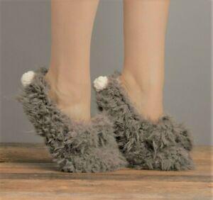 Lemon Ladies Knit Faux-Shearling Lined Shaggy Bunny Slipper Socks Gripper Grey