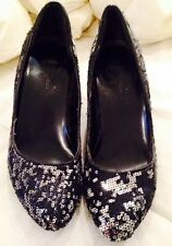 Black Silver Sequin Wedges Super Comfortable Size 7