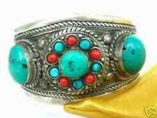 Tibet Silver turquoise Coral Beads Cuff bracelet