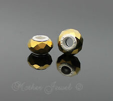 BEAUTIFUL STERLING SILVER SP GOLD ACRYLIC FACETED EUROPEAN BRACELET CHARM BEAD