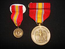 2 US Military NATIONAL DEFENSE SERVICE Medals + Original Box Year 1991