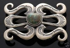 Native American Handmade Sand Cast Buckle with Natural Turquoise
