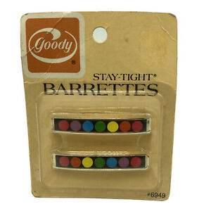 """Vintage 1970s Goody Stay Tight Barrettes Metal 2.25"""" Rainbow Circles NOS"""