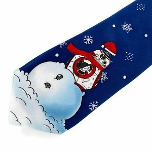 Star Wars R2D2 Snowman Snowflakes Polyester Tie Necktie NWT