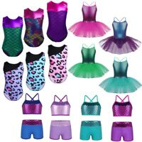 Girls Kids Mermaid Ballet Dance Tutu Dress Gymnastics Leopard Leotard Costume