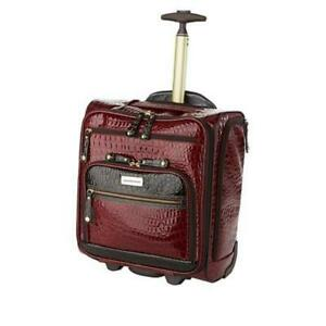 Samantha Brown Embossed Rolling Carry-It-All Bag Burgundy NWT SOLD OUT!