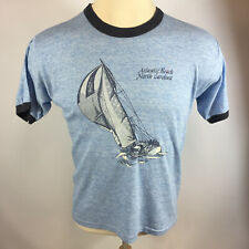 Vintage 70 80s Atlantic Beach North Carolina Rayon Tri Blend Blue Ringer T Shirt