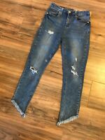 Seven7 Womens High Rise Ankle Skinny Jeans Sz 4 Distressed Angel Frayed Raw Hem