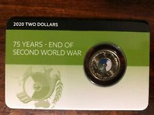 2020 75th anniversary End of World War 2 carded RAM issued coloured $2 coin