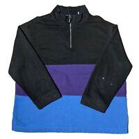 Black Purple Blue Stripe Quarter Zip 3/4 Sleeve Pacer Karen Scott Jumper in XL