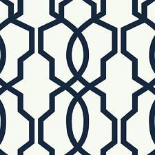 Wallpaper Designer Hourglass Geometric Lattice Trellis Navy Blue On White