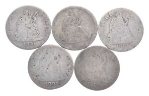 1876 1877 1891 1891 1890 Lot 5 Seated Liberty Dimes Collection *310