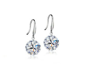 8mm, 9mm, 10mm Round Clear CZ Crystal White Gold Plated Hook Earrings 30% Silver